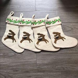 NWOT Wisteria Set of 4 Wool Reindeer Stockings